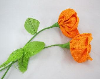 Burlap Flower - Long Stem Burlap Flower - Orange Burlap Flower - Vintage Burlap Flower - Large Burlap Flower - Free Shipping - 2HTT16