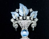 Vintage MAZER Blue Glass Fruit Salad Urn Flower Basket Vase Leaves Rhinestone Pave Brooch Pin