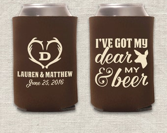 My Dear & My Beer - Hunting Wedding Can Cooler