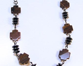 JASPER CROSS - HEMATITE Disk Necklace