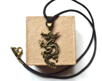Necklace - Bronze Dragon - For Men - Handmade