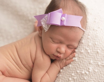Ribbon & Lace Bow - Baby headband - Spring headband - Newborn Photography Prop - Pearl headband - Vintage Shabby Chic - Purple Lavender Bow