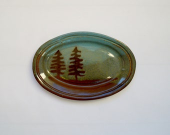 Vintage Studio Pottery Plate with Tree Design