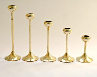 Mid Century Brass Ball Top Tulip Candle Holders, Set of 5