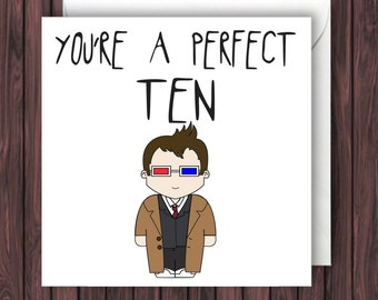 Perfect 10. Doctor Who Valentines Card. Funny Birthday Card. Geek Blank Card. Anniversary Card.