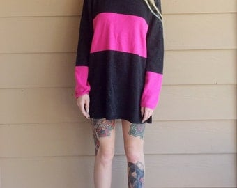 Colorblock Retro Turtleneck Oversized Sweater Dress // Women's size Small S