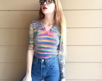 Handmade Vintage Rainbow Knit Colorful Sleeveless Crop Top Sweater Blouse // Women's size XS Small S
