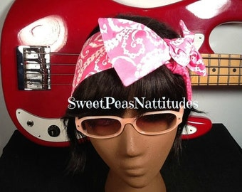 Dolly Bow Pink  on Pink Reversible Rockabilly Hair Scarf Bandana Dolly Bow Tie Up