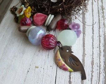 Bower of Flowers- enamel bird bead. natural wood slice. lavender yellow pink. vintage Lucite. soft rustic bird jewelry. Jettabugjewelry