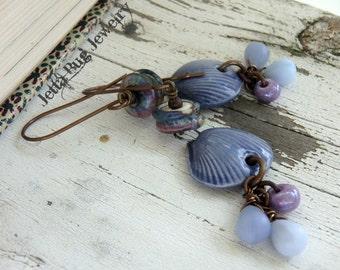 Periwinkle Shells- perwinkle blue lavender dangle earrings. ceramic shells. artisan lampwork beads. boho beach jewelry. Jettabugjewelry