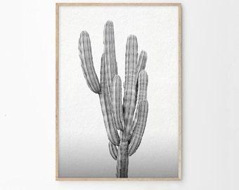Black & White Cactus Wall Art Print | Printable Downloadable Art | Southwestern Wall Art Home Decor | Black White Home Decor | Cactus Print
