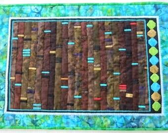 Feeling Earthy - DNA, Fiber Art/Art Quilt Wall Hanging, Science Theme