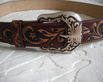 Western belt buckle 36'' with 100% leather hand tooled belt