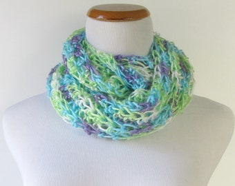 Crocheted Cowl - Shawl - Neck Warmer - Blue Green Purple and White