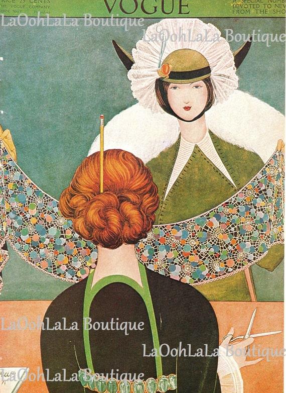 1913 Vogue Cover Millinery Fashion Print Art Deco Milliner Nouveau Couture Hat Vintage George Wolfe Plank Seamstress Dressmaker Wall Decor