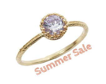 Gold ring. Gem ring. Cz ring. Purple ring. Dainty gold ring. Dainty ring. Romantic ring Stackable ring, stacking ring, gift for her (kai9)