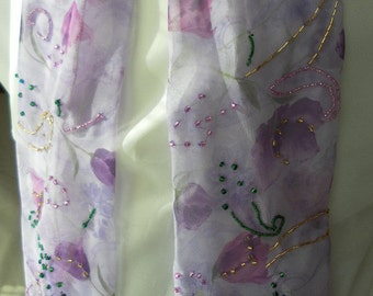 Lavender pink roses chiffon hand beaded scarf