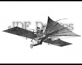 Instant Digital Download, Victorian Era Graphic, Steampunk Style Image, Steam Air Carriage Engraving, Airship, Airplane, Aerial, Aeronautics