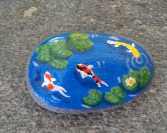 Items similar to miniature polymer clay gold koi fish pond for Clay fish pond