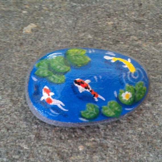 Miniature koi fish pond stone hand painted rock mini zen home for Mini koi fish