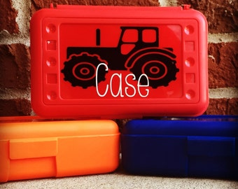 Personalized Pencil Box, Personalized Crayon Box, Tractor, School Pencil Box, Plastic Pencil Box, Plastic School Supply Box, Tractor Party