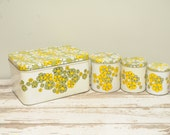 Vintage Kitchen Canisters Bread Box Set Daisies