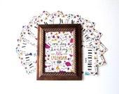 2016 Calendar - 5x7 Desk Calendar - Frameable - Floral Illustration - Hand-Lettering - Gift For Teachers - Coworker Gift - Stocking Stuffer