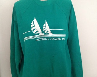 Vintage Boothbay Harbor Maine Sailboat Sweatshirt