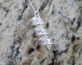 Hand Stamped Secret Message Spiral Necklace, Sterling Silver, coil, corkscrew, twisted, scroll