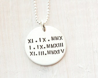 Roman Numeral Birthdate Necklace, Gift For Mom of Two or Three, Sterling Silver Jewelry For Mom, Birthdate Charm for Mom