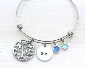Family Tree Charm Bracelet, Grandma's Blessings Bracelet, Nana Gigi Bangle, Birthstones Bracelet, Family Tree Bracelet, Count Your Blessings