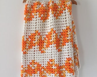 Vintage Muted Orange and White Crochet Afghan Throw