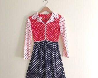 Vintage Polkadot Babydoll Dress / Red, White, Blue Shirt Dress / Fit and Flare Mini Dress / Retro 60s/70s