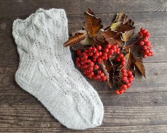 Hand Knit Wool Socks -Colorful for Women -Lace Knit Socks-Knitted Socks Size US W8,EU39/W9.EU40