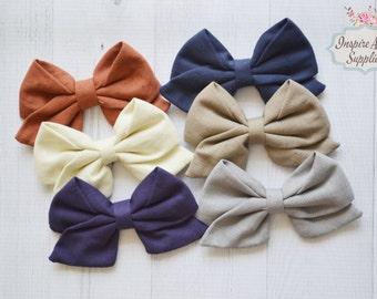 New Fall Sailor bows, DIY hair bow, hair bow supply, headband supply, wholesale bows, leather bows, fabric bows- for DIY no clip.