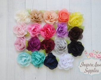 "Chiffon Rose with Leave flowers - 2"" chiffon flowers- YOU PICK quantity- Wholesale Lot - chiffon- Fabric Flowers Wholesale"
