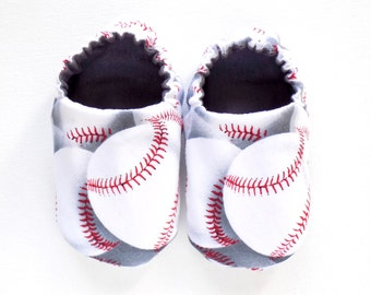 Baseball Baby Shoes, 0-6 mos. Baby Booties, Soft Sole Shoes, Boy Crib Shoes with Baseballs, Slip on Baby Shoes, Baseball Baby, Baby Boy Gift