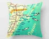 Delaware Map Pillow, Custom Virginia Map, Any City Pillow Cover, Delaware Map, Chincoteague, Bethany Beach Pillow, Decorative Throw Pillow