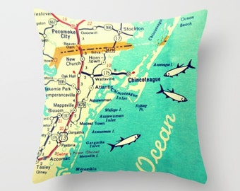Delaware Map Pillow Cover, Custom Virginia Map, Any City, Delaware Map, Virginia Gift, Chincoteague, Bethany Beach, Decorative Throw Pillow