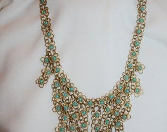 Vintage Fringe Necklace,  Boho Hippie Faux Turquoise Bib Necklace  1960s Jewelry