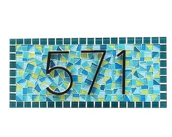 Custom Address Sign, Mosaic House Number Sign, Teal and Lime Green