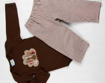 Baby Turkey Outfit - Baby Thanksgiving Shirt - Boys Turkey Shirt - Turkey Outfit - Gingham Pants - Baby Boy Thanksgiving Outfit - Turkeys