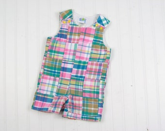 Preppy Boy Outfit - Baby Boy Patchwork Plaid Outfit -Madras Plaid Baby Outfit - Boys Shortall -  Pink Baby Boy Romper - Boys Summer Jon Jon