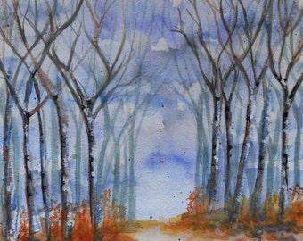 "ORIGINAL watercolor painting, NOT a print, ""Narrow Path"""