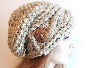 Slouchy Beanie Cabled Slouch Hats Wood Button Braided sideways Cable Hat womens fall winter accessory Oatmeal Grey Flecks Hand Made Knit