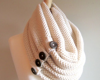 Cream Infinity Knit Scarf with Brown Buttons Neck Warmer Ivory White Scarves Women Girls Accessories