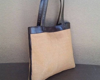 Raffia Leather Tote Bag, Casual Shoulder Purses, Trendy Totes, Shopper Purse, Handmade Weekend Bags, Yoselyn
