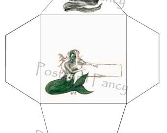 Mermaid and eel, PRINTABLE Envelope Template, Instant DIGITAL Download