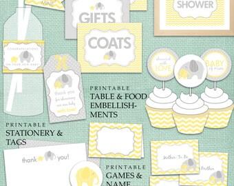 Yellow & Grey Elephant Baby Shower DIY Printable PDF Party
