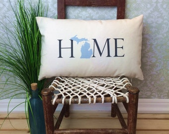 Michigan Pillow, Long Pillow, Home Pillow, State Pillow, Home Decor, House Warming Gift, House Warming Pillow, Custom Pillow, Lumbar
